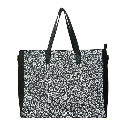 WHITE FLOWERS, BLACK LEATHER TOTE BAG
