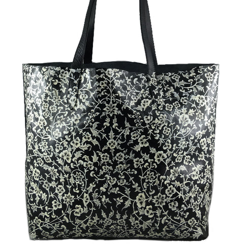 WHITE FLOWERS, BLACK TOTE BAG
