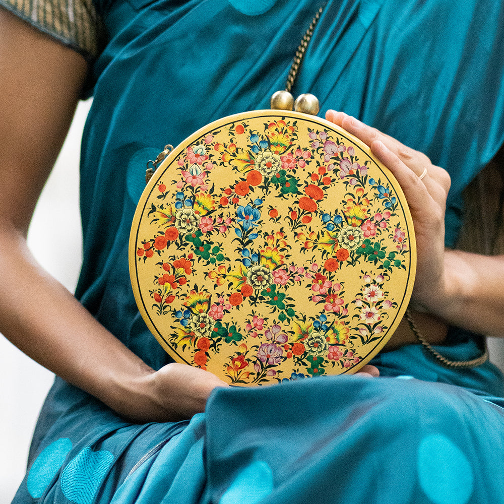 Colours of the rainbow, ROUND PAPER MACHE CLUTCH