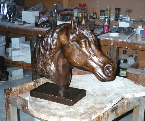 Arabian horse head equestrian sculpture