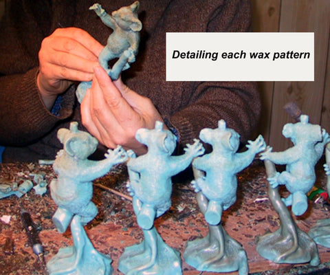 Detailing each wax pattern - bronze sculptures - bronze casting using the lost wax casting process
