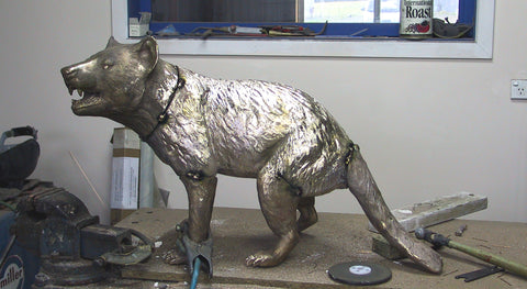 Bronze casting pieces being put together - Life size bronze sculpture of a Tasmanian Devil / Tassie Devil / tazmanian devil