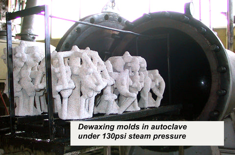 Dewaxing moulds in autoclave - bronze sculptures - bronze casting using the lost wax casting process