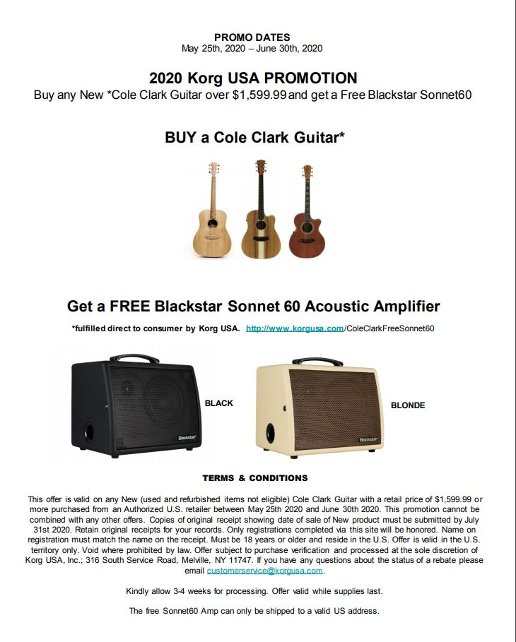 Buy a Cole Clark Guitar and Get a Free Blackstar Acoustic Amplifier Amp