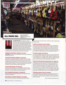 All Music was recently featured in Guitar World magazine's The Coolest Brick-and-Mortar Guitar Stores in the U.S. article
