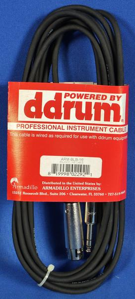 Ddrum 6998 Pro & Elite Snare Trigger Stereo Tip/Ring/Sleeve 15' Cable ARM-BLB