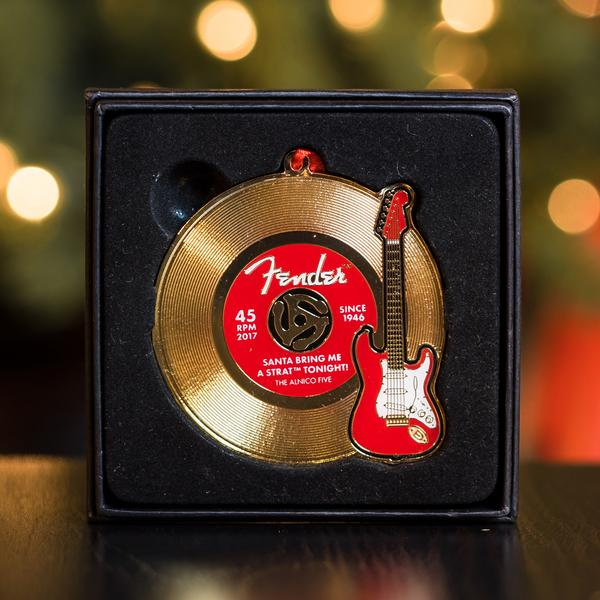 Fender Limited Edition Holiday Ornament - Red Stratocaster & Gold Record