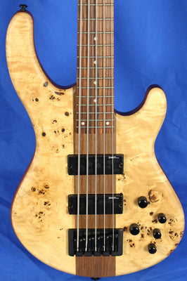 Dean Edge Select Burled Poplar Satin Natural 5 String Electric Bass Guitar