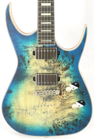 Dean Exile Select Burl Poplar Satin Turquoise Burst Electric Guitar