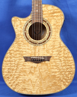 Dean Exotica Quilted Ash Natural Left Handed Acoustic Electric Guitar