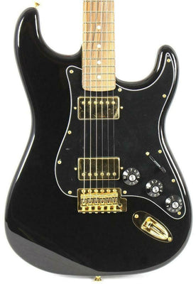 Fender Blacktop Mahogany Stratocaster Strat HH Black and Gold Electric Guitar