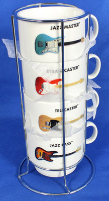 Fender Guitars Mug Set with Rack Jazz bass Telecaster Stratocaster Jazzmaster
