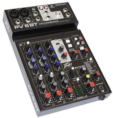Peavey PV6BT 6 Channel Mixer w/ Bluetooth and Phantom Power