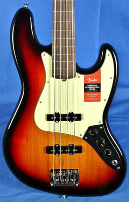 Fender American Professional Pro Sunburst Fretless Jazz Electric Bass Guitar