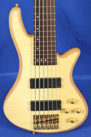 Schecter Stiletto Custom 6 Natural Flame Top Electric Bass Guitar