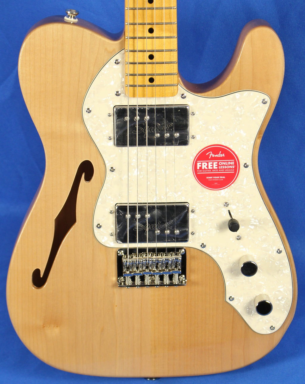 Squier Classic Vibe 70s Thinline Telecaster Tele Natural Electric Guitar Figured Back