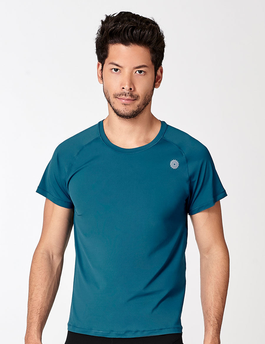 easyoga LA-VEDA Men's Fitted Tee - B31 Coral Blue