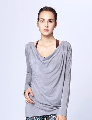 easyoga Lespiro Laid-Back Drape Top - A5 Light Gray