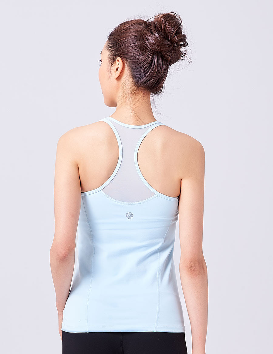 easyoga LA-VEDA Noble V-Mesh Tank - B1 Light Blue