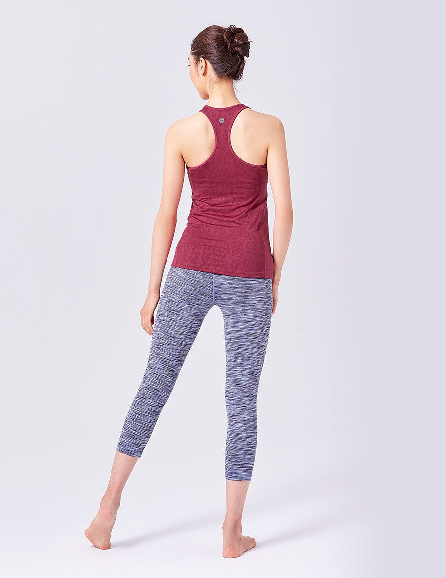 easyoga LA-VEDA Twiggy Core Capris1 - D56 Dark/Light Blue Stripe