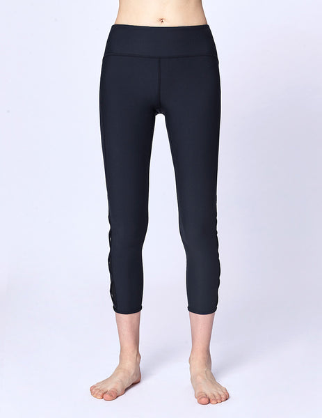 easyoga LA-VEDA Ethereal Lattice Cropped Pants - B04 Navy