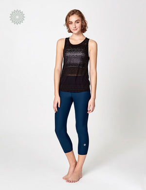 easyoga LA-VEDA Devore Twist Sheer Tank - L1 Black