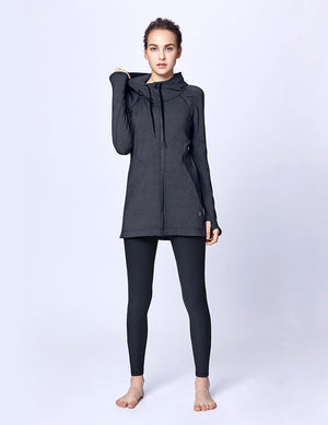easyoga LA-VEDA Belief in HER Hooded  Jacket - M23 M-Dark Gray