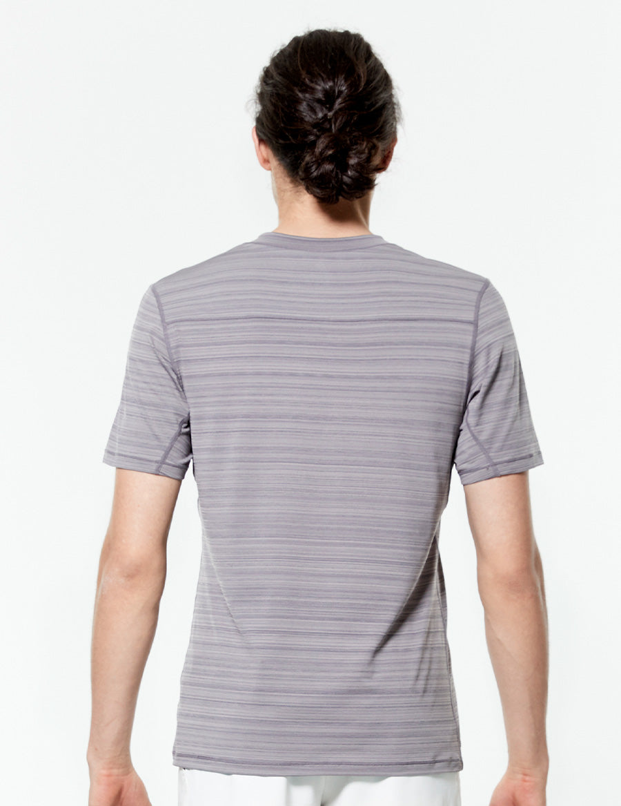 easyoga Lespiro Men's Sheen Athlete Tee - D67 Gray Stripe