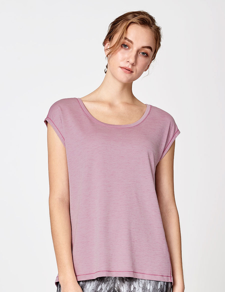 easyoga LA-VEDA Inspirer Short Sleeve - X05 Dry Rose/M-Purple