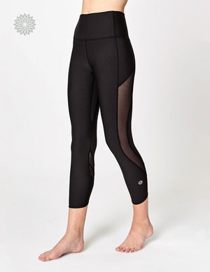 easyoga LA-VEDA Groovin' Mesh Cropped Tights - L1 Black