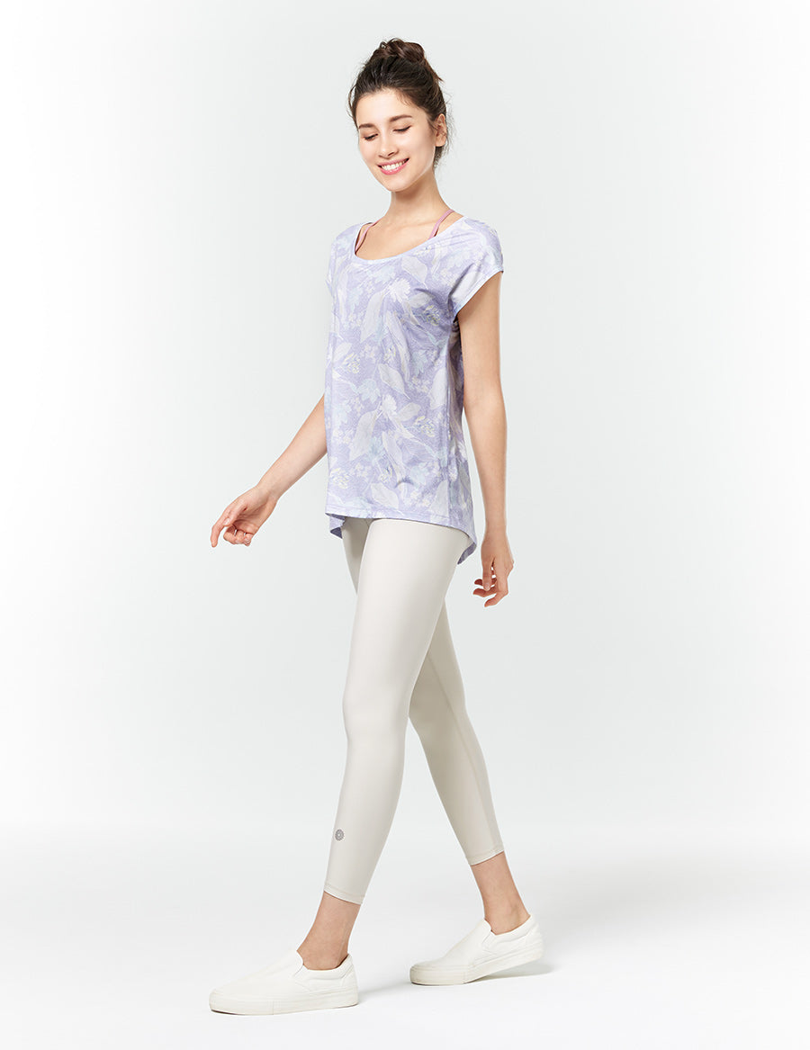 easyoga LA-VEDA Breathe In Short Sleeve - FD3 Africa Bouquet Blue