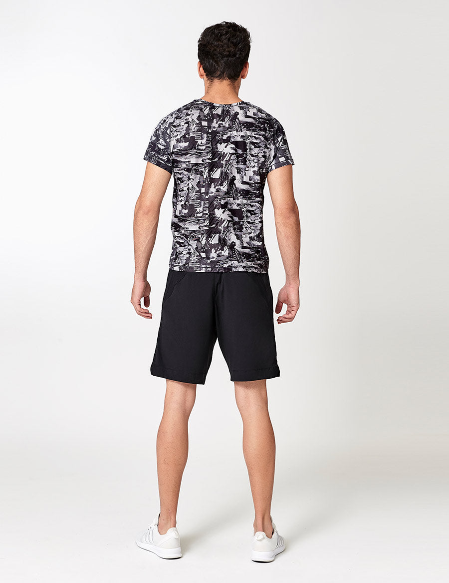 easyoga LA-VEDA Men's Fitted Tee - FA1 Montage Gray