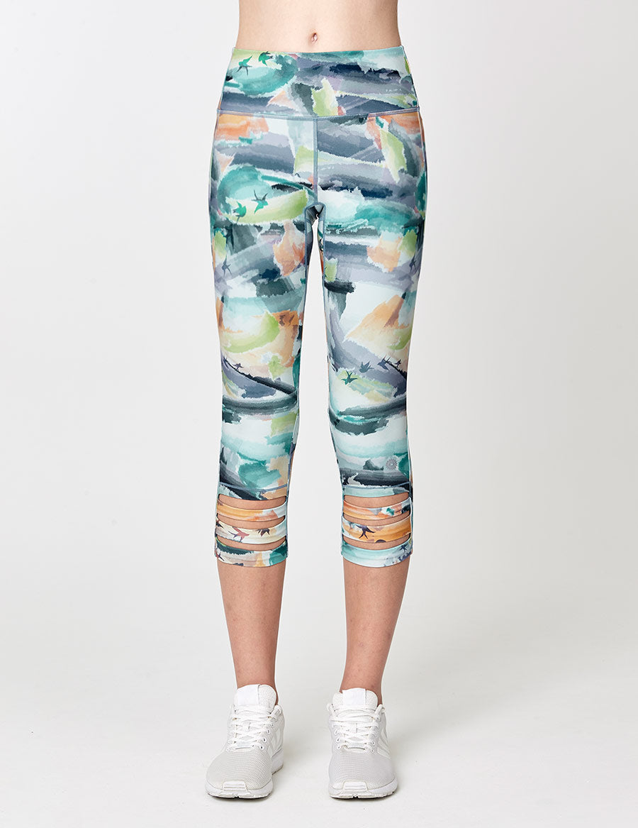 easyoga Lespiro Loop In Cropped Tights - F90 Bright Ink Clouds
