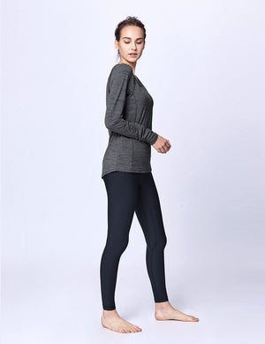easyoga LA-VEDA Revive Layerd Long  Sleeve - M26 M-Gray Tigerstripe