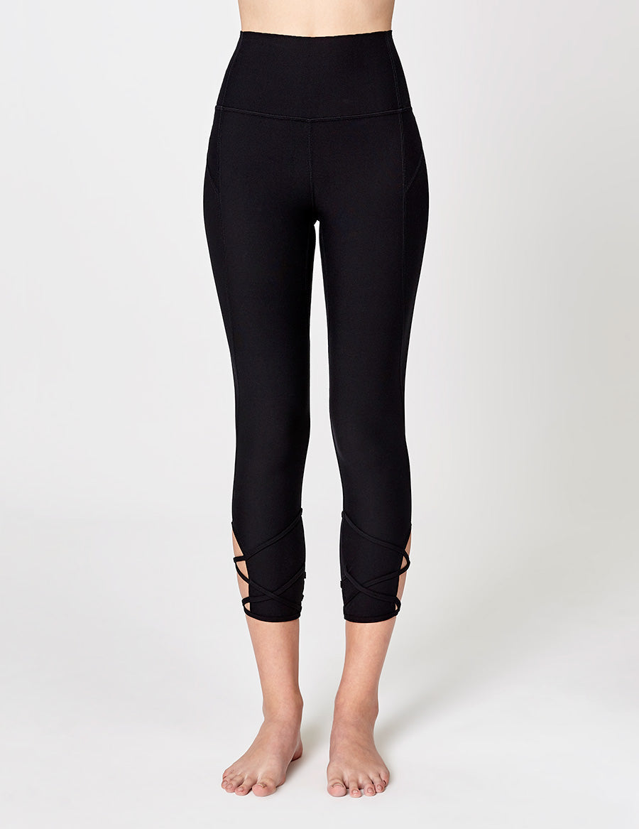 easyoga LA-VEDA Lattice Cropped Tights - L1 Black