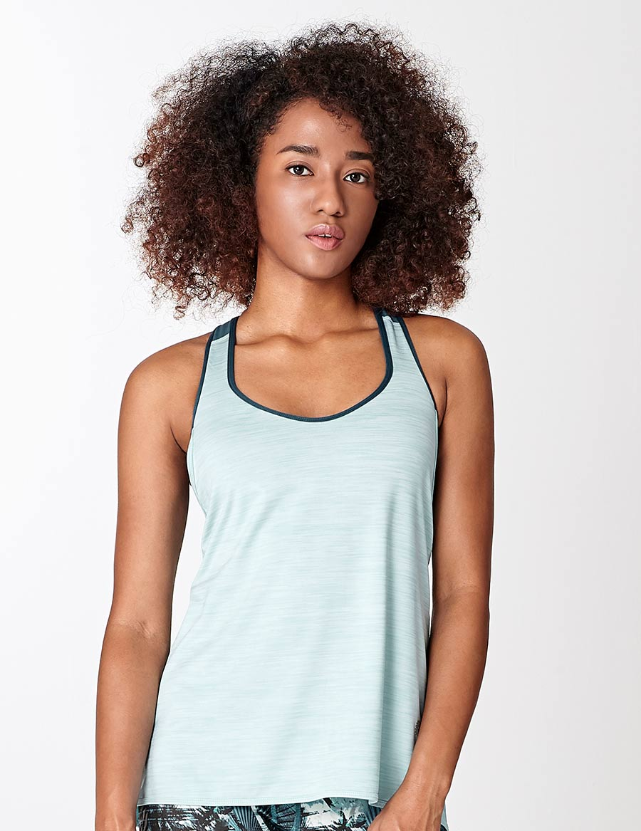 easyoga Lespiro Tie-UP Tank - M17 M-White Blue