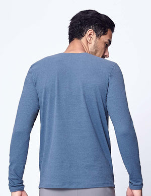 easyoga Lespiro Men's Stretch Long Sleeve - M33 M-Ink Blue