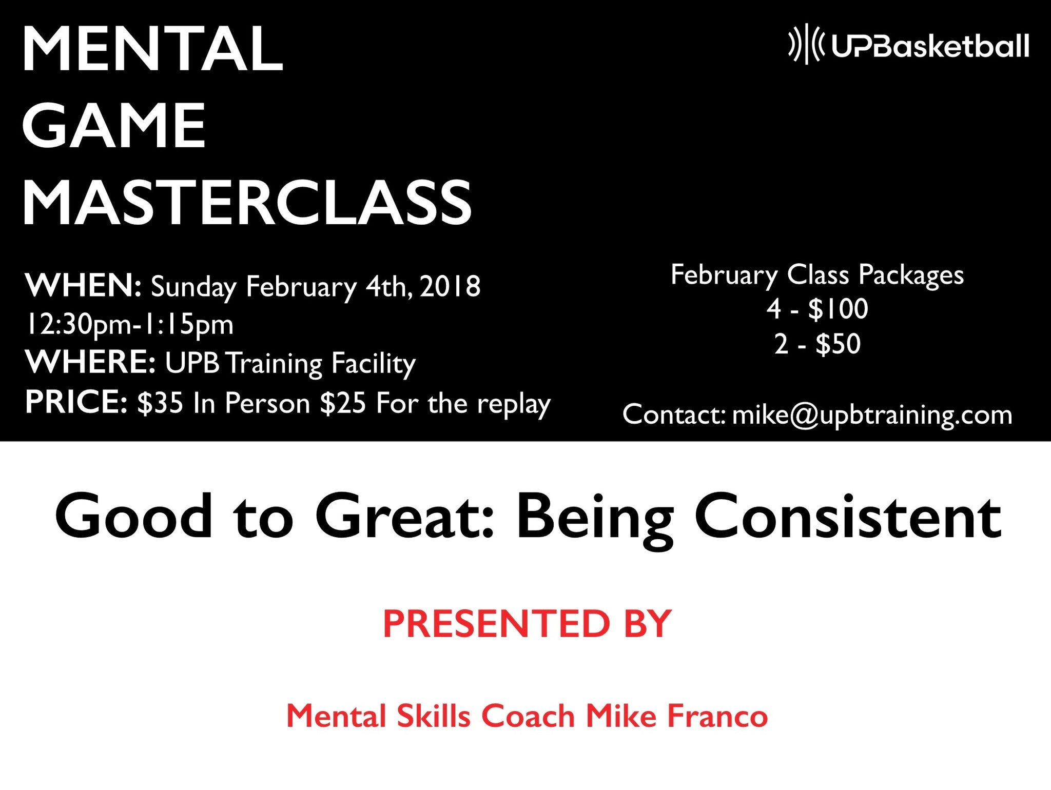 Mental Training Masterclass: Good to Great-Being Consistent (REPLAY)