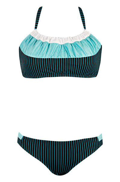 Cara White, Light Blue Waves, Black w/ Thin Aqua Stripes