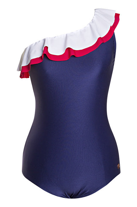 Reina Navy, White & Red Ruffles