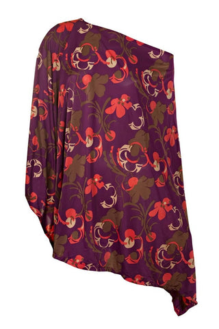 Poncho Purple/Orange/Black Flowers