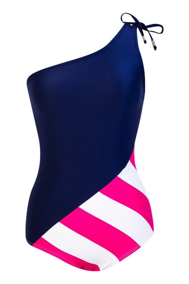 Sienna Navy, Thick pink white stripes