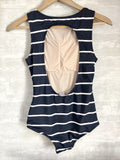 Heather Navy and White Stripes