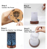 Ultrasonic Cool Mist Essential Oil Diffuser 100ml Capacity Metal Aromatherapy Diffuser with Waterless Auto Shut-Off Protection,7 Colors Changed LED for Home,Office,SPA (Tree) - Naturally My Sister's Keeper