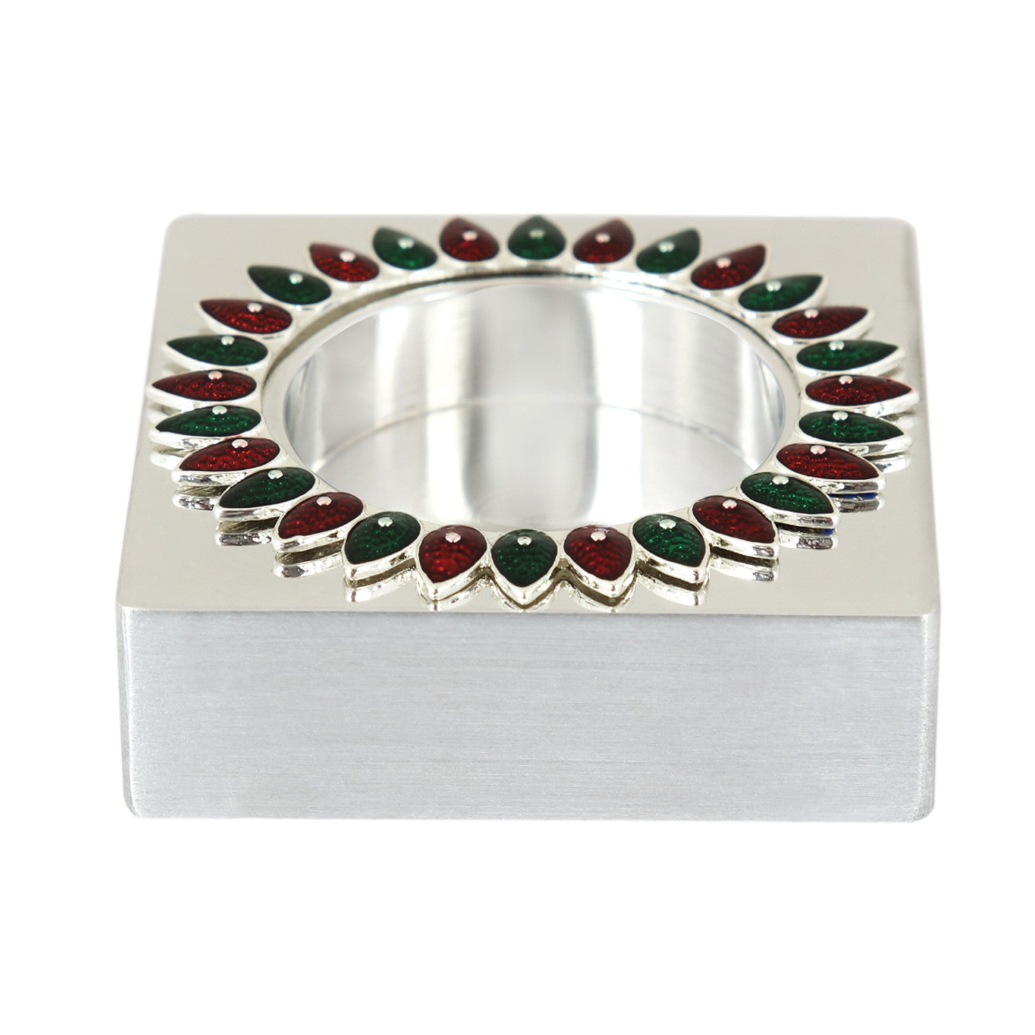 Tlight holder-with small leaf-square-red&green - Barton,Son & Co.