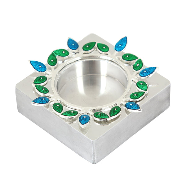 Tlight holder-with leaf-square-blue&green - Barton,Son & Co.