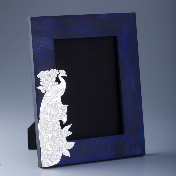 Silver Plated Peacock Cutwork on Composite Lapiz Photoframe