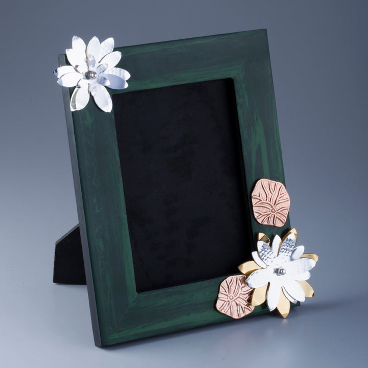 Silver Plated Flower on Composite Malachite Photo frame  Photo Size 5*7 inches