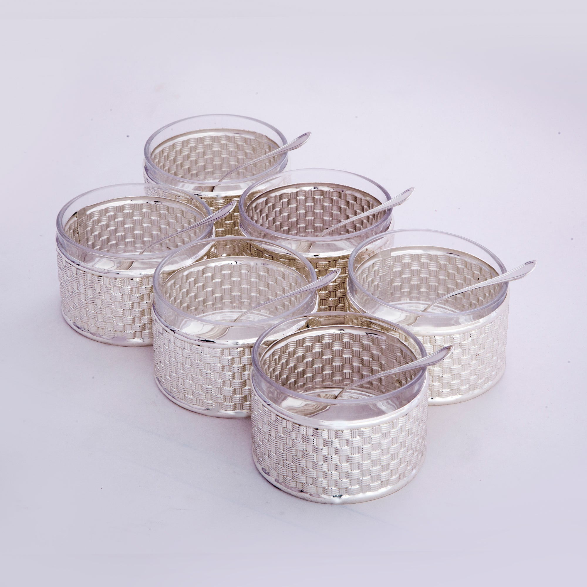 Juice set, 6 glasses, in metal sleeve, with spoon - Barton,Son & Co.