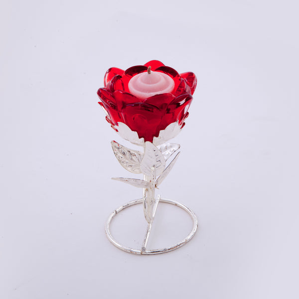 "Candle stand, Rose flower in glass on stand, 5.5"" ht - Barton,Son & Co."